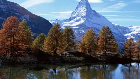 mountains, river, peak