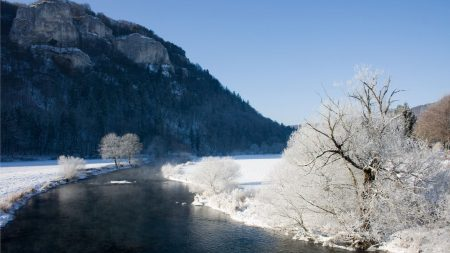 mountains, river, trees