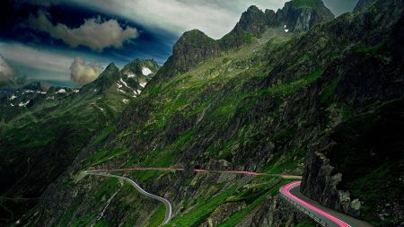 mountains, road, serpentine