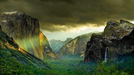 mountains, rocks, cloudy