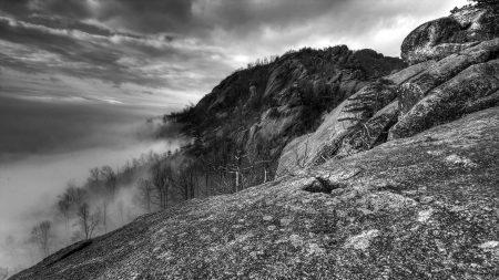 mountains, rocks, trees