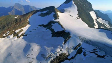 mountains, snow, stones