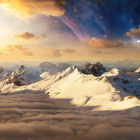 mountains, snow, tops