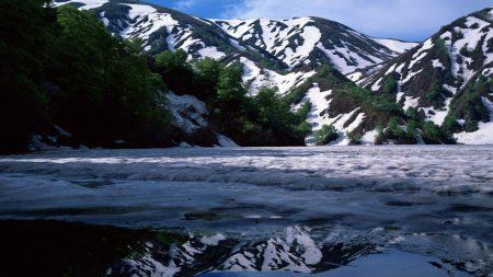 mountains, spring, snow