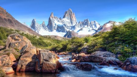 mountains, stones, wood
