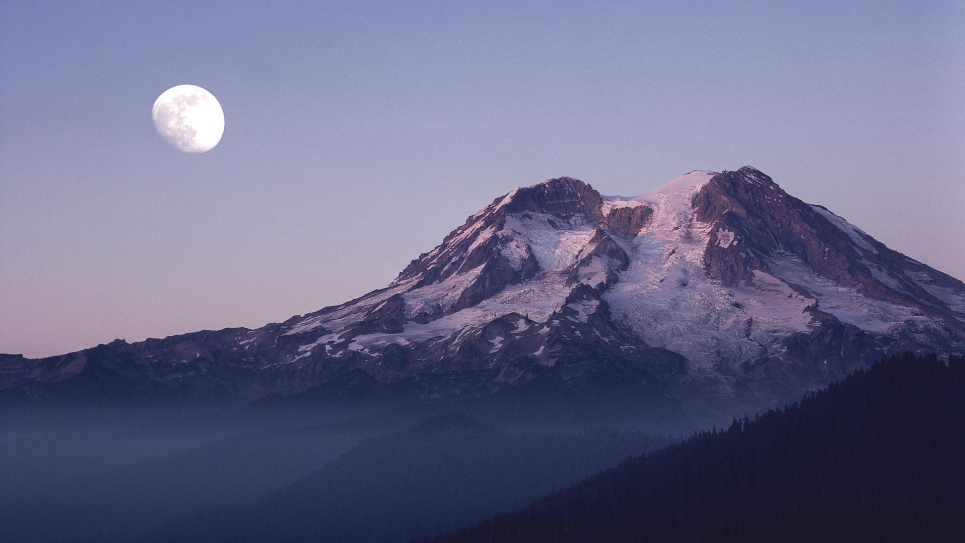 Download Wallpaper 1920x1080 Mountains, Top, Moon, Snow
