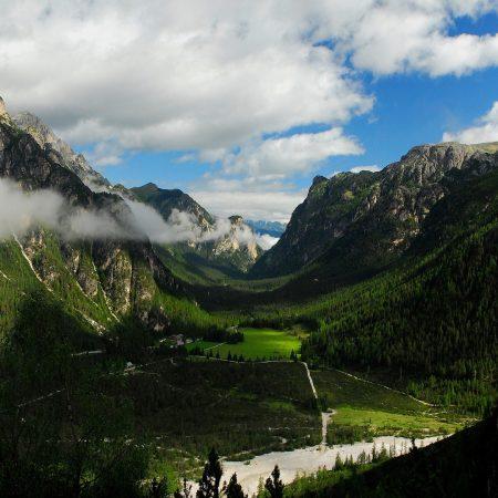 mountains, valley, bottom