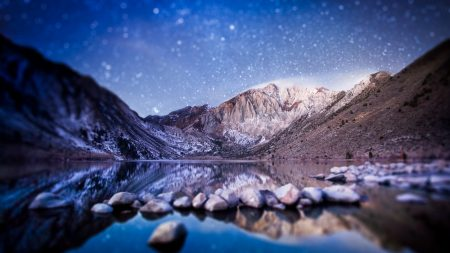 mountains, water, stones