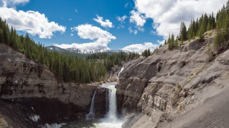 mountains, waterfalls, landscape