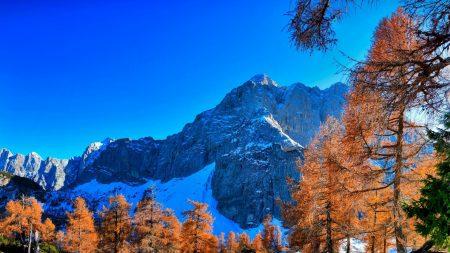 mountains, winter, sky