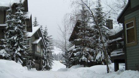 mounting skiing resort, houses, hotel
