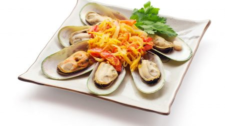 mussels, seafood, plate