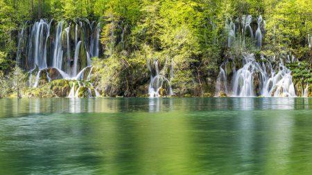 nature, waterfalls, lake