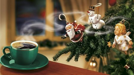 new year, coffee, christmas tree