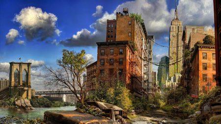 new york, apocalypse, ruins