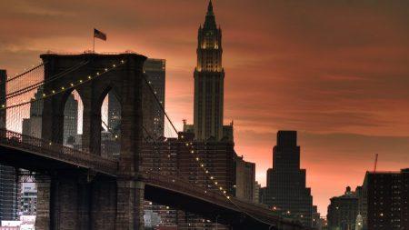 new york, bridge, sunset