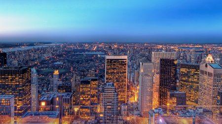 new york, lights, city