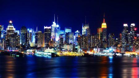 new york, night, lights