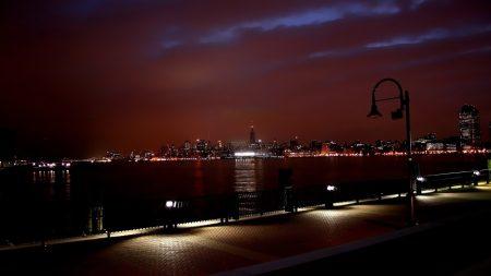 new york, river, buildings