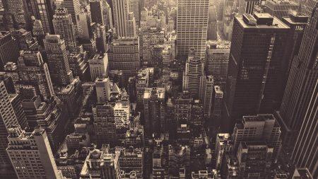 new york, skyscrapers, top view