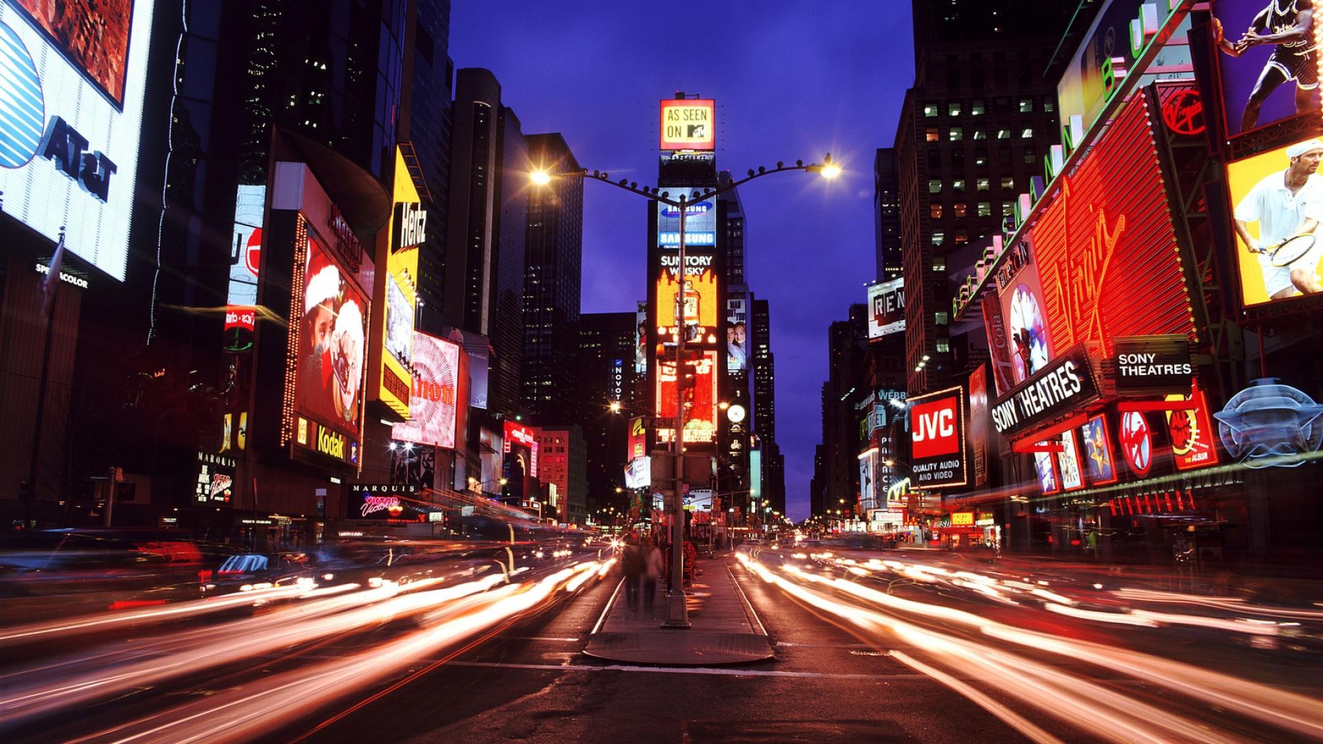 Download Wallpaper 1920x1080 New York Times Square Night City Metropolis Full Hd 1080p Hd Background
