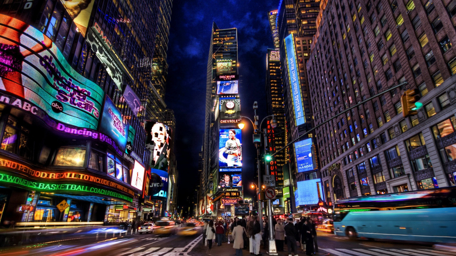Download Wallpaper 1920x1080 New York Times Square Street Night