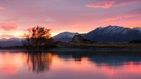 new zealand, sunrise, lake