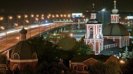 night, church, road