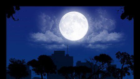 night, city, buildings