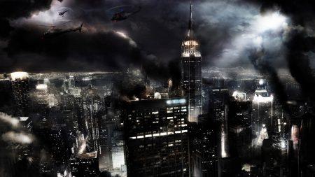 night, city, fires