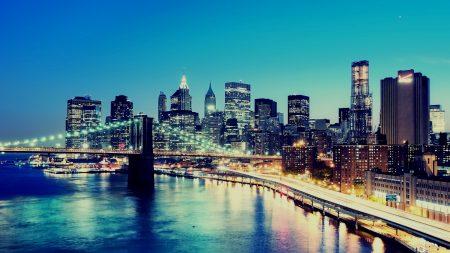 night, city, lights