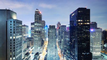 night city, metropolis, lights