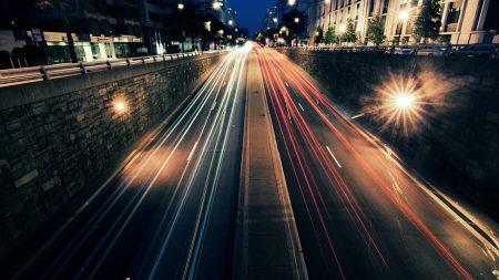 night, city, road