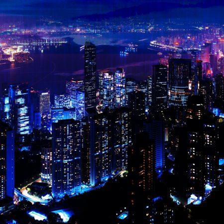 night, city, sky