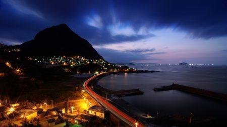night, hill, road