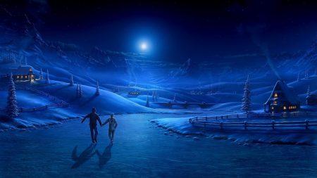 night, ice, pair