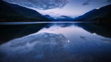 night, lake, mountains