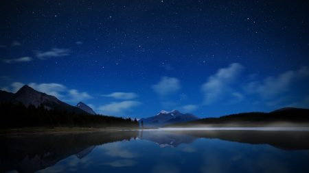 night, lake, stars