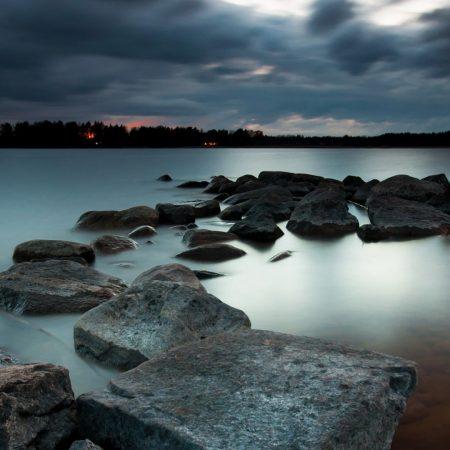 night, lake, stones