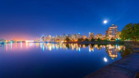 night, light, river