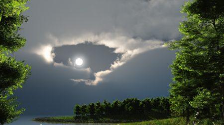 night, moon, lake