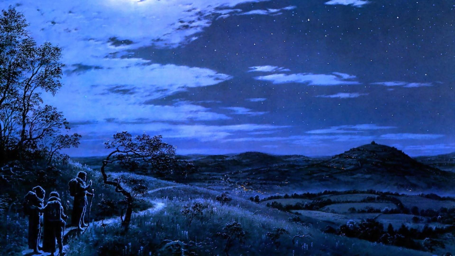 Download Wallpaper 1920x1080 Night Moon Travelers Trail Nature Full Hd 1080p Hd Background