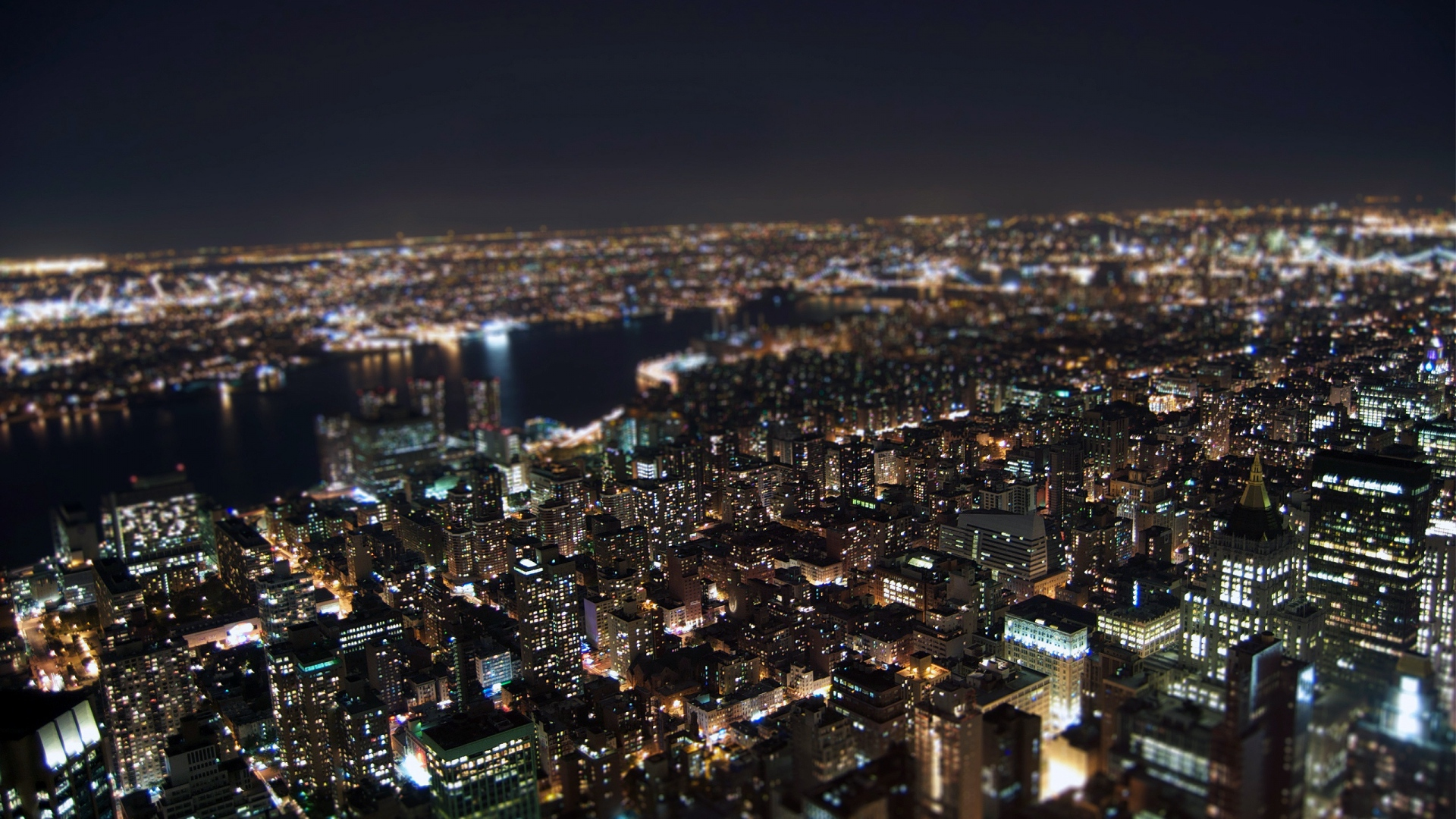 Download Wallpaper 1920x1080 Night New York Lights Top View Full Hd 1080p Hd Background