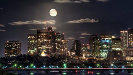 night, skyscrapers, bridges