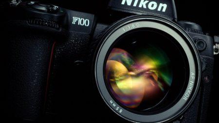 nikon, camera, black
