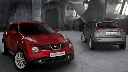 nissan, gray, red