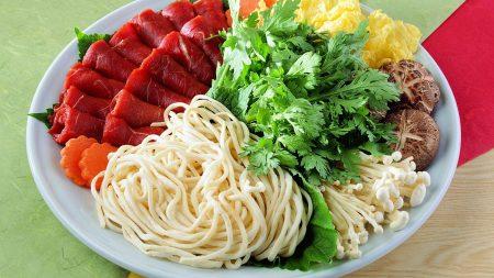 noodles, meat, vegetables