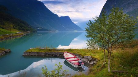 norway, boat, mountains