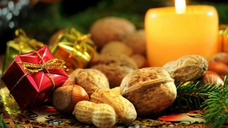 nuts, candle, gifts