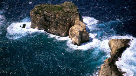 ocean, rocks, island